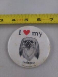 Vintage I Love My Pekingese Dog 1980 pin button pinback *EE89