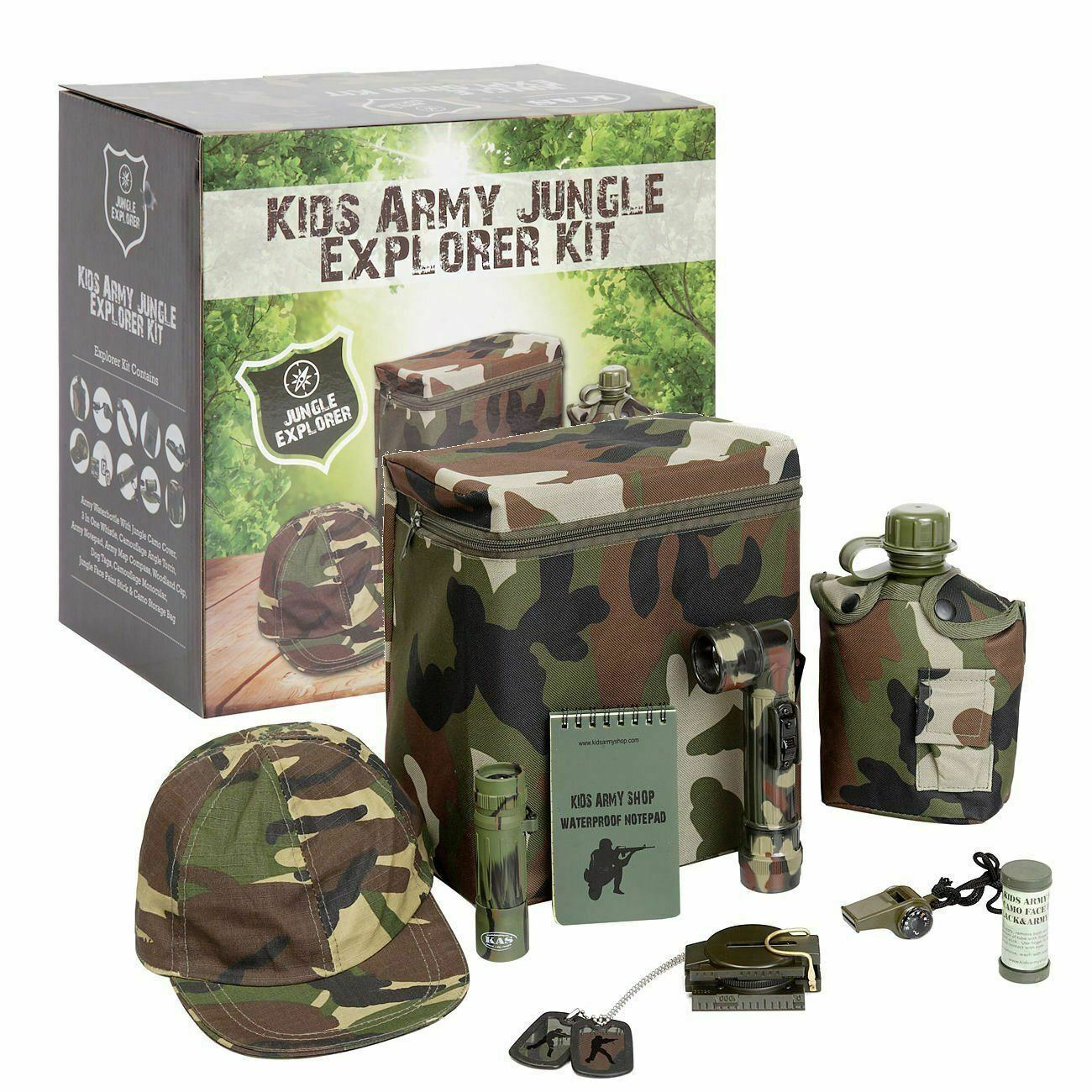 Camouflage Kit Army Roleplay Camo Net Tent Pegs Kids Army Command Bunker Set