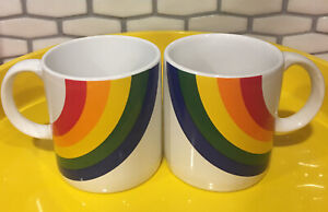 Vintage Rainbow Coffee Mugs (2) by F.T.D.A. Ceramic 1984 Pride Cups