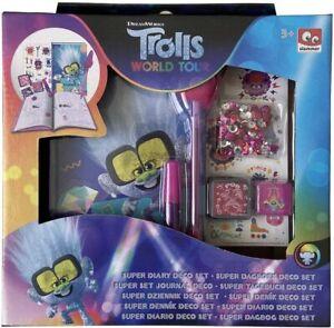 Trolls Mundo Tour Pequeño Diamond Diario Decoración Set Crea Tu Propio Y Pluma