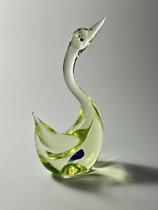 C1960s Antonio da Ros for Cenedese Murano Signed Sommerso Uranium Art Glass Swan