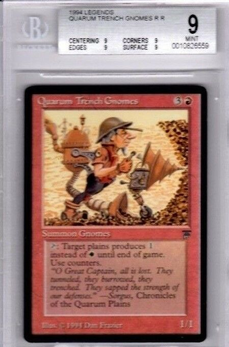 MTG MAGIC THE GATHERING LEGENDS QUARUM TRENCH GNOMES BGS GRADED 9.0 MINT CARD