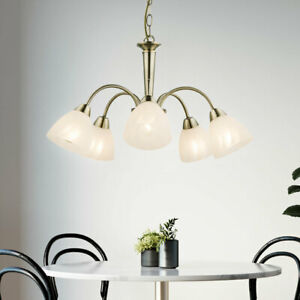 RETRO-Decken-Haenge-Lampe-Ess-Zimmer-Kronleuchter-Flur-Glas-Luester-bronze-rund