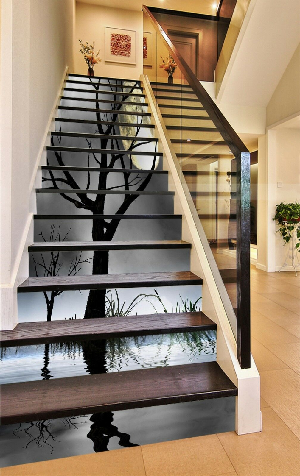3D Branches Moon Stair Risers Decoration Photo Mural Vinyl Decal Wallpaper CA