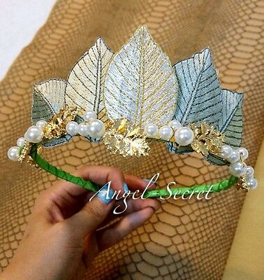 CR6 golden crown for Princess and Frog Tiana Costume tiara pearl fairy cosplay