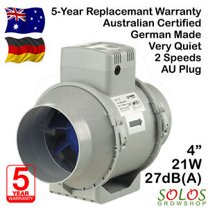 4 100mm Hydroponic Inline Exhaust Fan Silent Ventilation