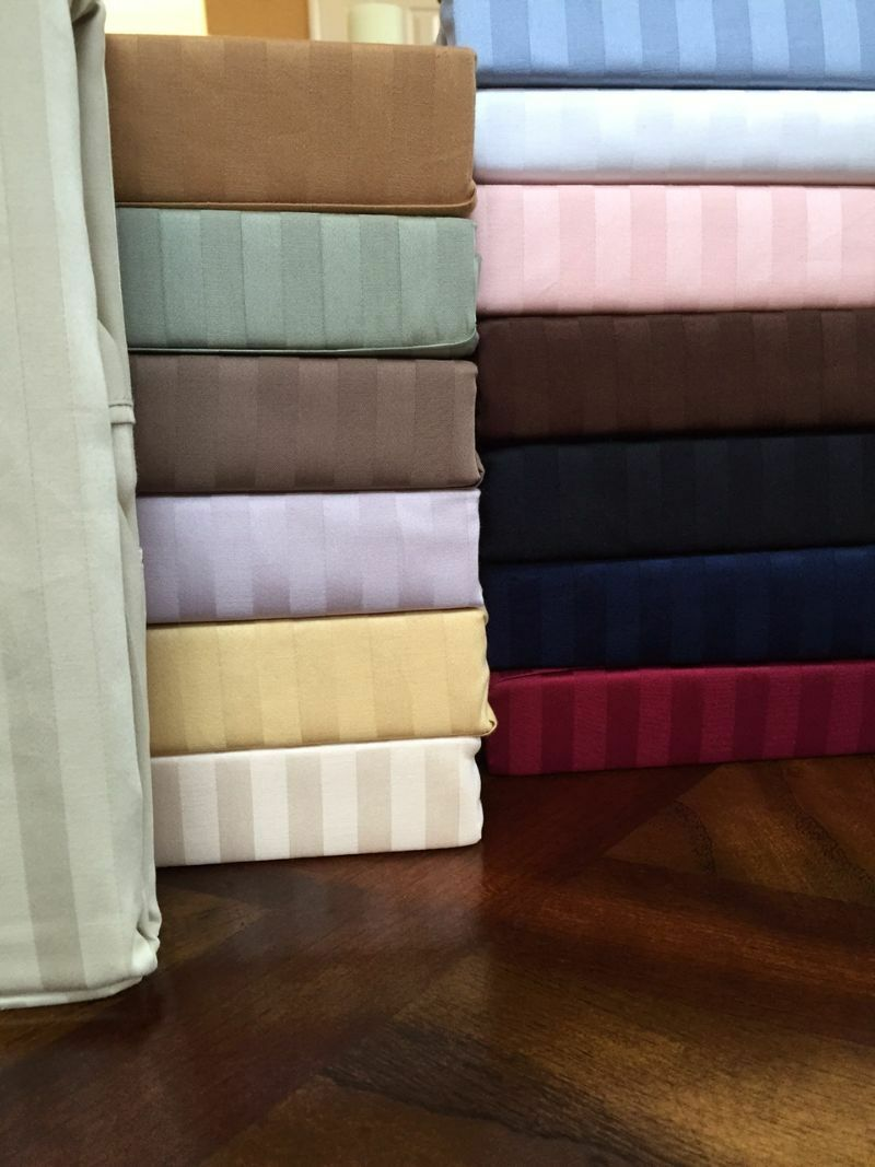 Attached Waterbed 300 TC Luxury 100% Cotton Sateen Damask Stripe Sheet Set