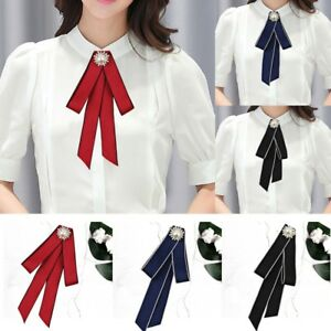 8bbe7a96944 Image is loading Women-Lady-Crystal-Pearl-Ribbon-Bowknot-Brooch-Pin-