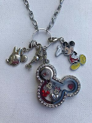 Minnie and Mickey Mouse By Living Memory Lockets for Less Floating Charm Bracelet Disney