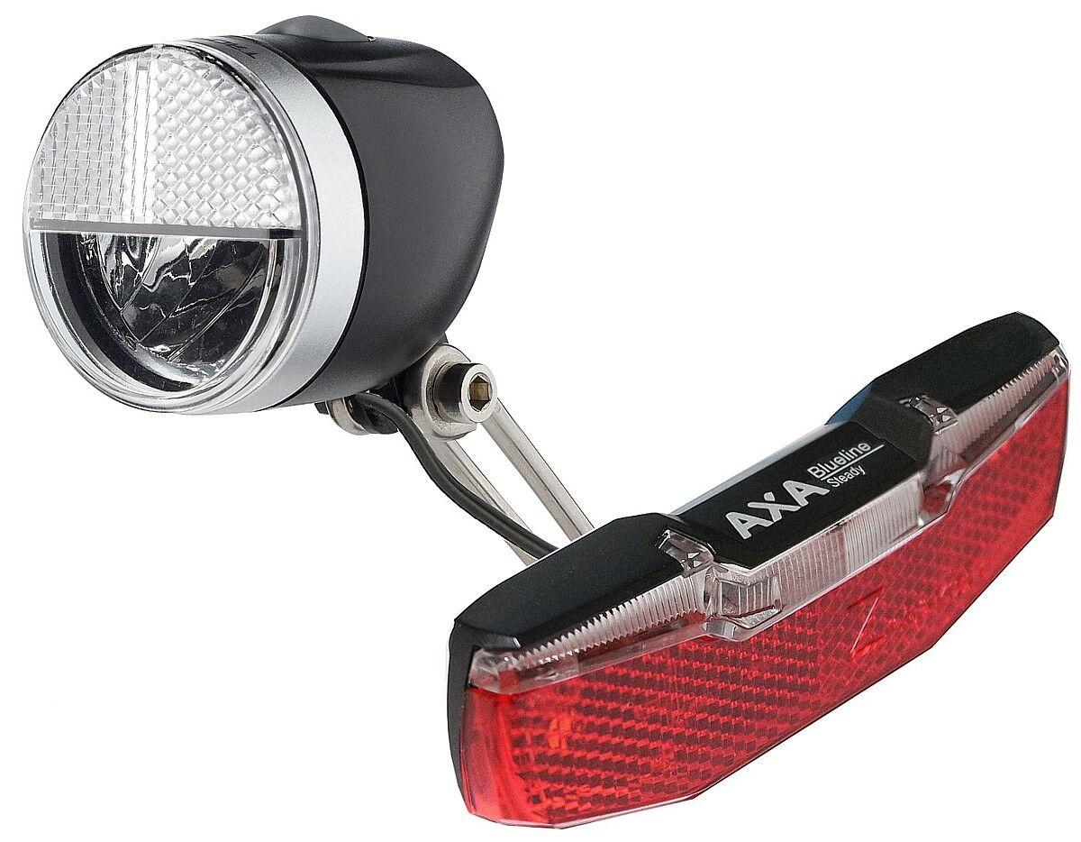 LED bicicleta-lámparas set Nabendynamo 40 lux luz de de de estacionamiento & luz trasera Axa azulline a11ea3