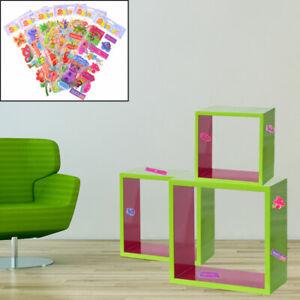 Etagere-3-Pieces-MDF-Mur-Livres-Depose-Brillant-la-Vie-Chambre-Decoration-Puffy