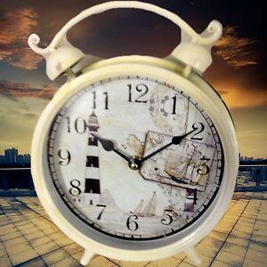 Ensoleillé Réveil Rond Blanc Batterie Horloges De Table Cadeau Fiable Antique Déco Vintage