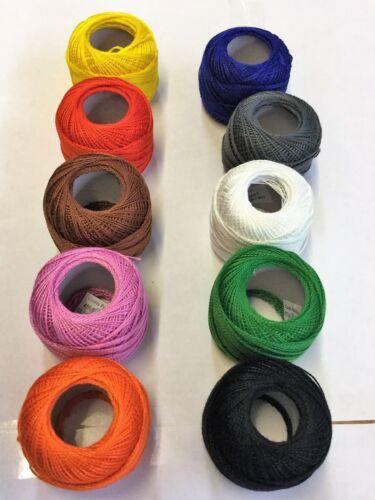 10 Anchor Balls Embroidery Pearl Cotton No.8 Most Demanding Colour JP Coats