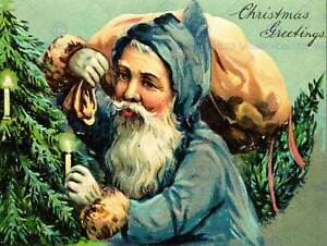 PAINTING-CHRISTMAS-CARD-BLUE-SANTA-CLAUS-TREE-CANDLE-SACK-BEARD-ART-PRINT-CC554