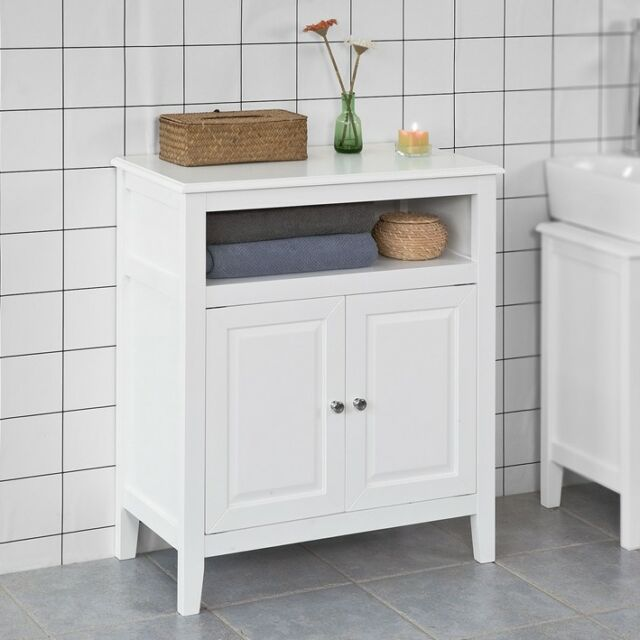 So Bathroom Storage Cabinet Free Standing Cupboard White Wood Frg204 W