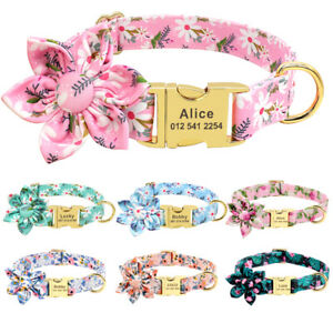 Floral-Personalised-Dog-Collar-Flower-Adjustable-Nylon-ID-Name-Collar-Engraved