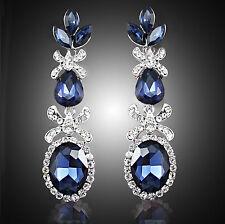 "Thompson Luxury ""Saphira"" Ohrringe Blau, Kristall, Strass, versilbert UVP 39,90€"