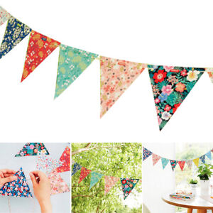 12Flags-floral-Paper-Bunting-Vintage-shabby-chic-anniversaire-mariage-decoration