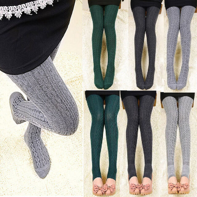 Winter Autumn Woman Lady Braid Connect foot Jacquard Hose Twisted Warm Leggings