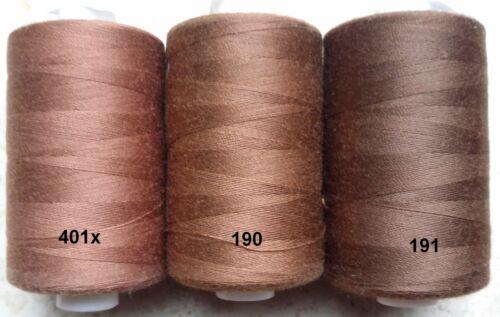 Nähgarn 914,4 m 1000Y Rolle €0,40//100m Top Qualität Beige Braun Töne