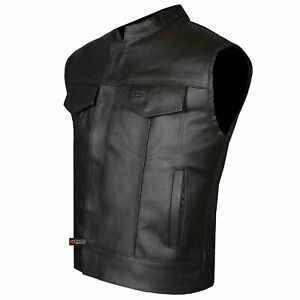 SOA-Men-039-s-Leather-Vest-Anarchy-Motorcycle-Biker-Club-Concealed-Carry-Outlaws