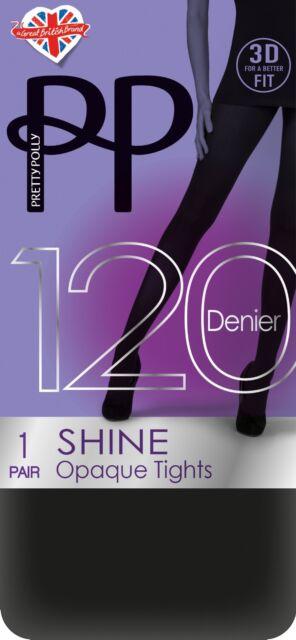 Black and Burgundy 1 Pair Pretty Polly 3D Shine Opaque Tights 120 Denier