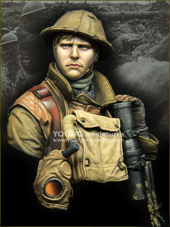 Young Miniatures British Lewis Gunner WW1 1 10th YM1875 Unpainted Bust kit