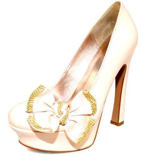 Beautiful Cream Nude Patent Platform Pumps Sandal 6.5