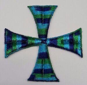 Vintage-Quadrato-Croce-Ricamato-da-Cucire-Arcobaleno-Blu-Verde-3-034-Toppe-6-Pcs