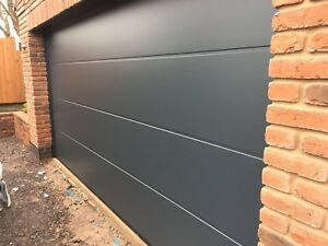 Modern Sectional Garage Door White Insulated Double Width