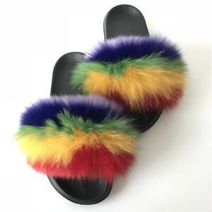34fd9b5c5e7f6 Details about Rainbow Multicolored Real Fox Fur Slides Slippers Soft Flat  Sandals Shoes