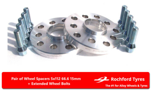 2 Bolts For Chrysler Crossfire 04-08 5x112 66.6 Wheel Spacers 15mm