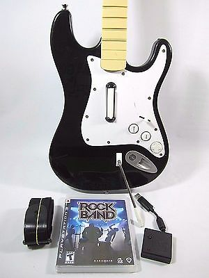 PS2 PS3 PS4 Rock Band Guitar Controller Fender Stratocaster with Dongle TESTED!