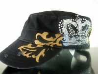 Women Black Cadet Hat Rhinestone Bling Adjustable Distressed Crown Tiara Cap