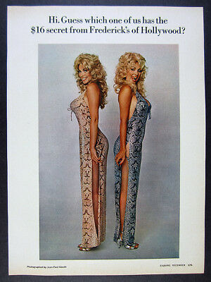 1973 Frederick's of Hollywood lingerie Jean-Paul Goude photos vintage print Ad