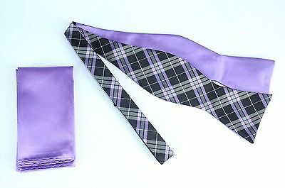 Lord R Colton $75 Purple & Gray Plaid Reversible Bow Tie & Pocket Square New
