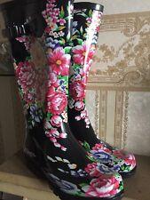 Ladies Tall Winter Waterproof Rain Flower Wellington Boots size 4 Black Colour!!