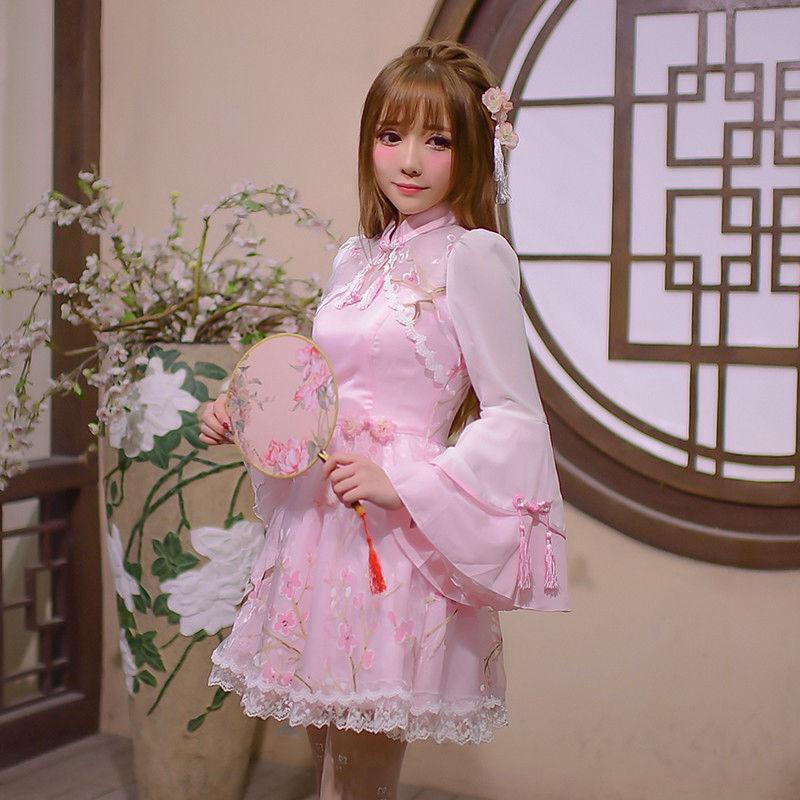 Embroidery Womens Girls Lolita Slim Fit Princess Skirts Sweet Kawaii Qipao Dress