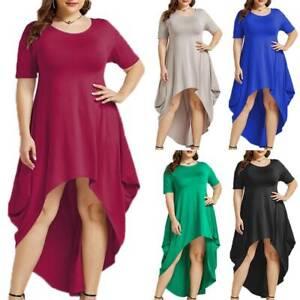 Womens-Short-Sleeve-High-Low-Irregular-Casual-Plain-Cocktail-Party-Midi-Dress