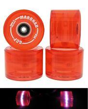 4 Stück LED MARONAD ® Longboard Skateboard Rollen Wheels 70x50mm 85A ABEC 11 Rot