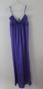 L-Vintage-lingerie-slip-long-maxi-bright-purple-sheer-lace-Maidenform-Union-tag