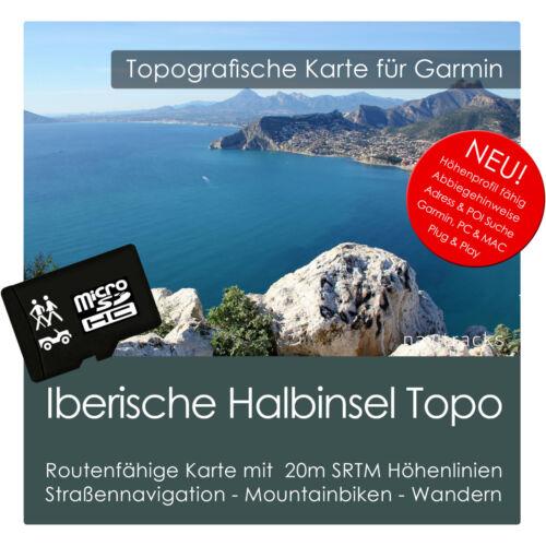 PC /& MAC Iberische Halbinsel Topo Karte 20m Höhenlinien 8GB microSD Garmin Navi