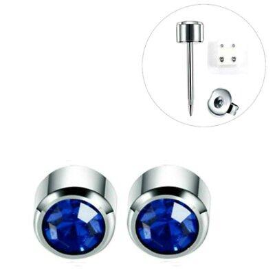 1 Paar Medizinische Ohrstecker Silber Gesundheitsstecker Ohrringe Stein Blau Ohr