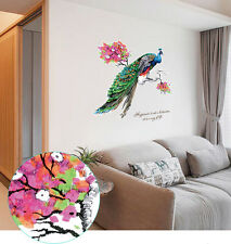 Large Peacock On Blossom Tree Branch Wall Art Stickers Decals Natural Feathers