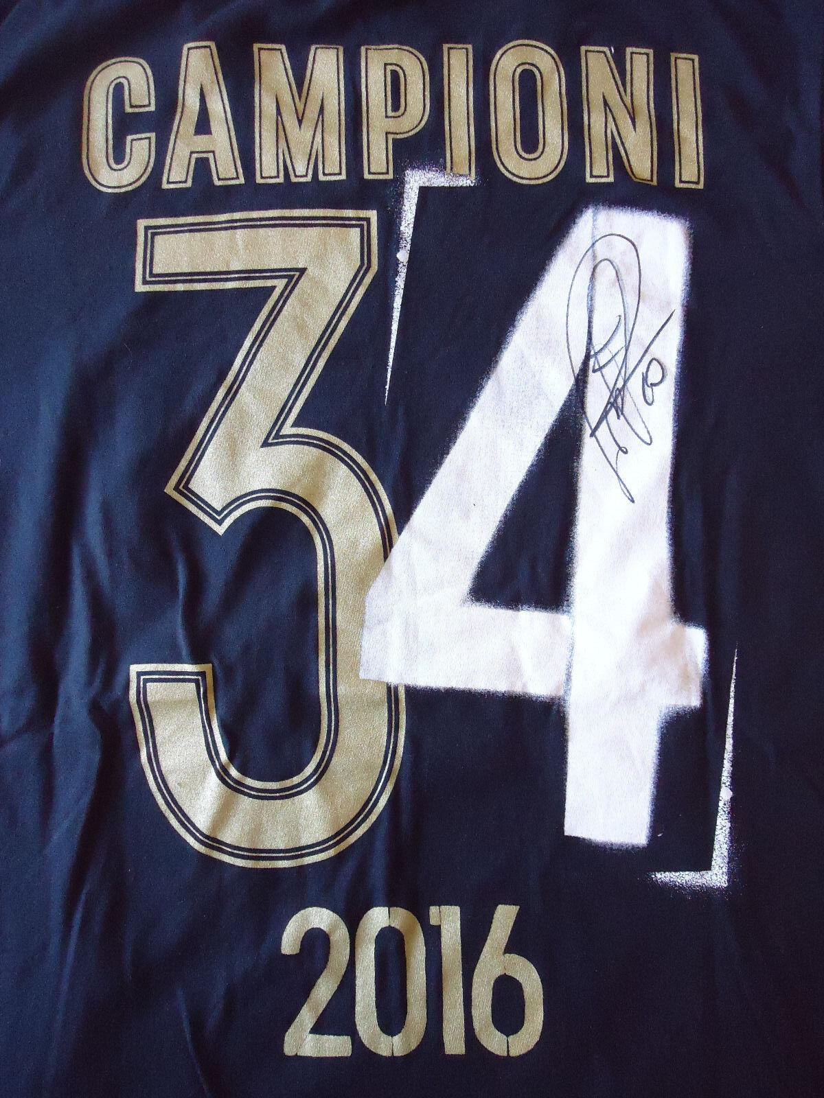 Paul Pogba Tshirt Juventus Champion 2016 Signed