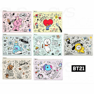 BTS BT21 Official Authentic Goods PU FLAT Pouch Doodle Ver + Tracking Number