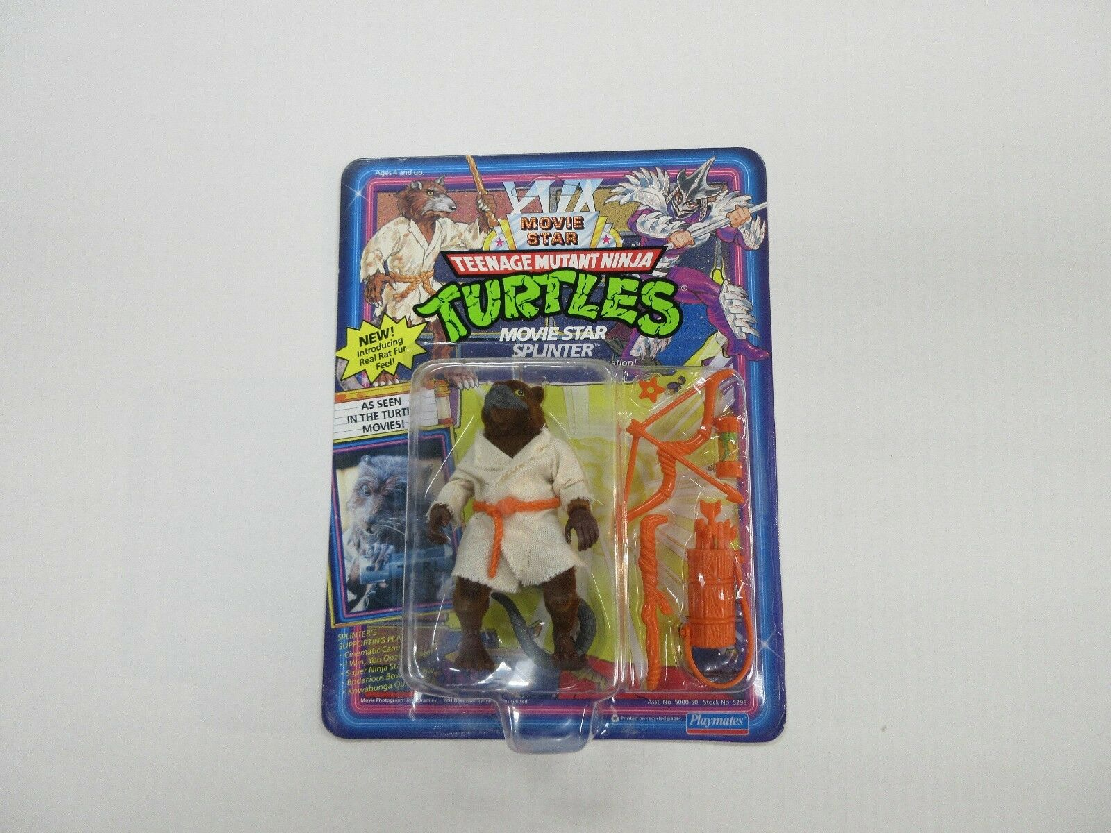 1991 TMNT NINJA TURTLES MOVIE STAR SPLINTER FIGURE UNPUNCHED FACTORY SEALED