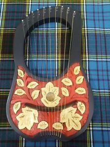Alerte Main Gravé Lyre Harpe 10 Métal Cordes Rosewood/lyra Harfe/arpa Étui Gratuit Clé-afficher Le Titre D'origine