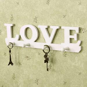 Vintage-White-LOVE-Hook-Clothes-Robe-Key-Holder-Hat-Hanger-Wall-Home-Decor-Z