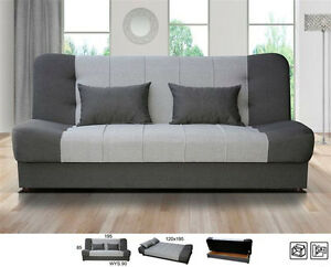 NEW click clack sofabed with storge grey or beige brown cream sofa ...